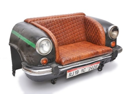 Ambassador Car Sofa, Leather, 58x31x31 Inches