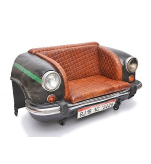 Ambassador Car Sofa, Leather, 58x31x31 Inches