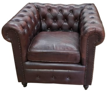 Chesterfield Leather Armchair, 36x32x30 Inches
