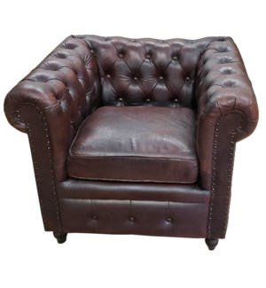 """""""Chesterfield Leather Armchair, 36x32x30 Inches"""""""