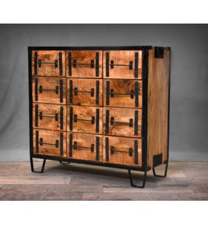 Ulrich 12 Drawer Cabinet, Wood & Metal, 40x16x39 Inch