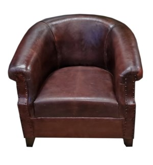 Espresso Leather Armchair, 29x27x30 Inches
