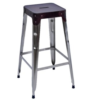 Stello Leather Top Bar Stool, 11x11x30 Inches