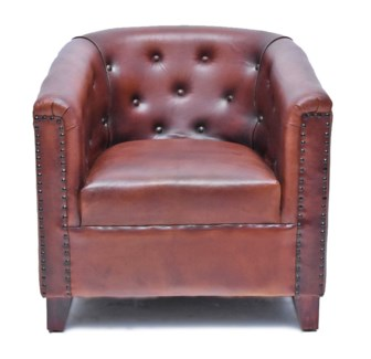 Cognac Button Leather Armchair, 29x27x30 Inches