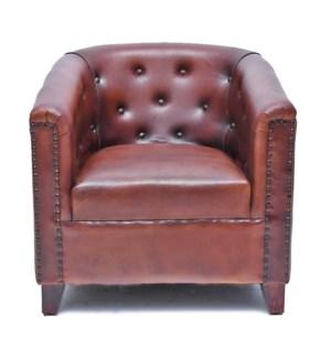 Cognac Button Leather Armchair