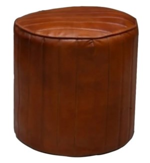 """""""Classic Leather Strip Round Poufe, Brown"""""""