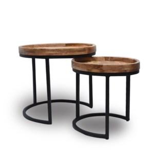 """""""Nesting Table, Set of 2, Wood/Iron"""""""