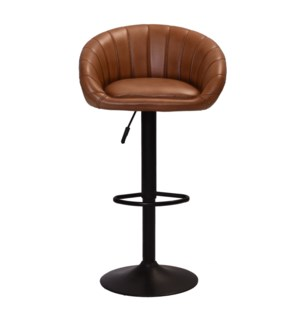 Pleated Retro Leather Bar Stool, 21x17x32 Inches
