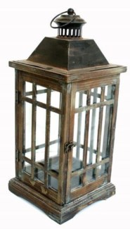 Classic wooden lantern brown 8.6x 8.6x 20inch