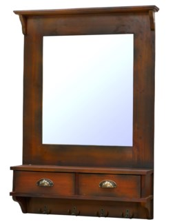 Wall Mirror w Drawers Dark Walnut finish. 26.8x6.5x37.6inch