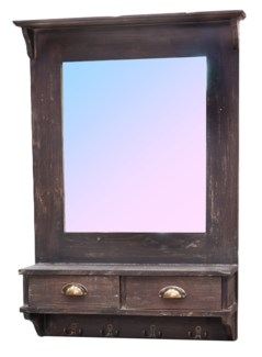 Wall Mirror w Drawers Rustic Finish. 26.8x6.5x37.6inch