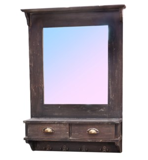 Wall Mirror w Drawers Rustic Finish. 26.8x6.5x37.6inch