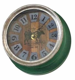 Farmhouse Cow Clock Metal, Green, 7x7x3.5 inches