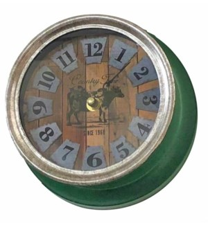 Farmhouse Cow Clock Metal, Green, 7x7x3.5 inches