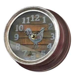 Farmhouse Hen Clock, Red, Metal 7x7x3.5 inches