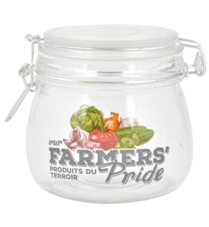 Farmers  Pride jam jar S. Glass, metal, silicone. 12,7x11,0x10,5cm. oq/24,mc/24
