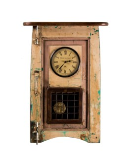 Recycled Old Window Clock with Pendulum 20x4x26 inches