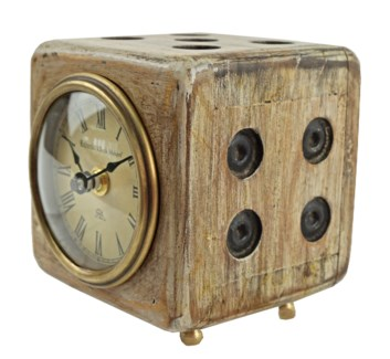 Distressed Finish Wood Clock 4x4x4 inches