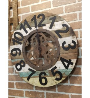 Recycled Wood Clock With Gear