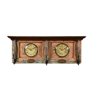 Wooden Dual dial clock