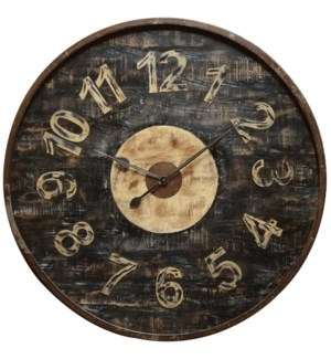 Round wooden distressed clock