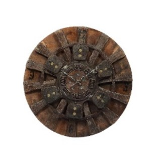 Wooden Spinning Wheel Clock with Clutch Plate