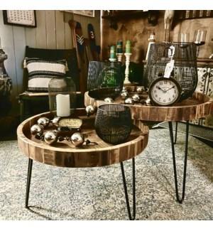 """Reclaim Wood Nesting Table Set, 24 (D)x16 in, 31.5 (D)x 17"""