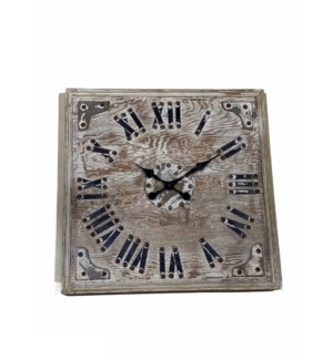 Wooden Sq. Clock in White Distress finish