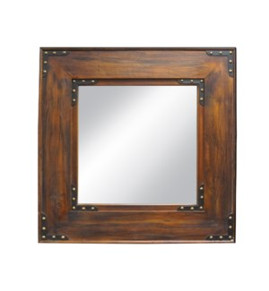 """Teak Wooden Mirror, Mirror size 19.7x35.4in"""