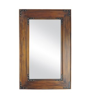 """Teak Wooden Mirror, Mirror size 19.7x19.7in"""