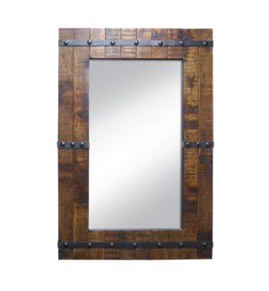 """Old wooden mirror, Samll, Mirror size 35.4x19.7in"""