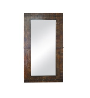 """Old wooden mirror, Large, Mirror size 27.6x66.9in"""