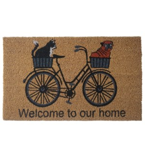 """""""Bicycle Doormat, """"""""Welcome to our home"""""""", 18x30in"""""""