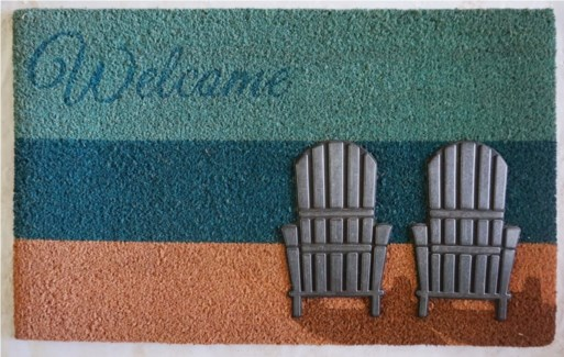 WELCOME Lakeside Mat, Blue/Nat, 17.7x29.5 inches, 1.5 cm thick, Rubber Flocked Silver Finish On Sal