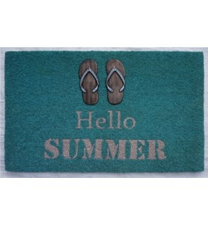 HELLO SUMMER Flip Flop Mat, 17.7x29.5 inches, 1.5 cm thick, Rubber Flocked Copper/Silver Finish On
