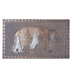 Forest Bear Mat, Silver & Copper Finish, 17.7x29.5 inches, 0.7 cm thick