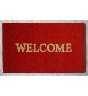 """WELCOME Mat, Rust Red, 1.5x2."""