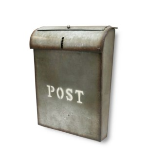 Emily POST Mailbox Rustic Metal. Lid access. 10.6x3.93x13.9inch.