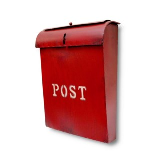 Emily POST Mailbox Rustic Red Lid access. 10.6x3.9x13.9