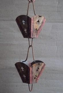 Square Cup Rain Chain, Pure Copper, 8 ft(96 In.)