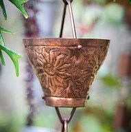 Embossed Cup Rain Chain, Pure Copper,  8 ft(96 In.)
