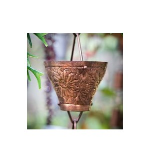 Embossed Copper Cup Rain Chain