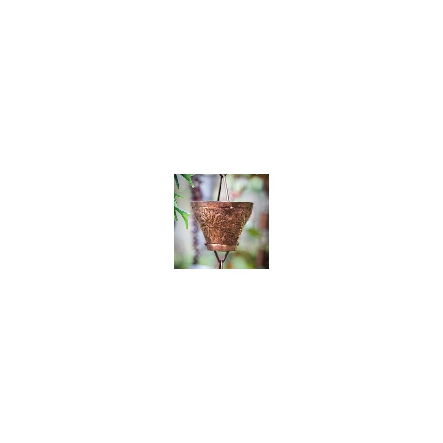 """Embossed Cup Rain Chain, Pure Copper,  8 ft(96 In.)"""