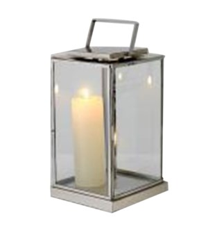 Alex Lantern, Medium, Polished Steel, 8x8x14 in.