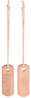 Nail brush on rope. Schima superba wood, pigs bristle, cotton cord. 4,1x3,0x11,2cm. oq/12,mc/120 P