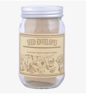 Empty seed envelops in jar. Gl