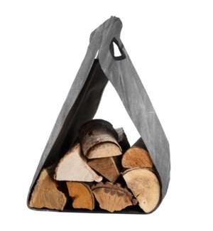 Waxed canvas wood log carrier