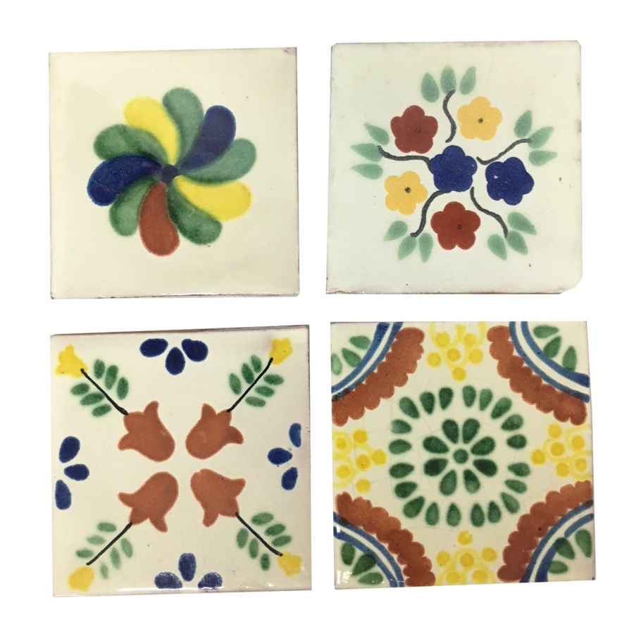 Coaster/Tiles Green Floral Set/4