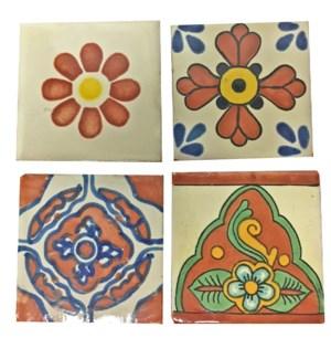 Coaster/Tiles Rust Floral Set/4