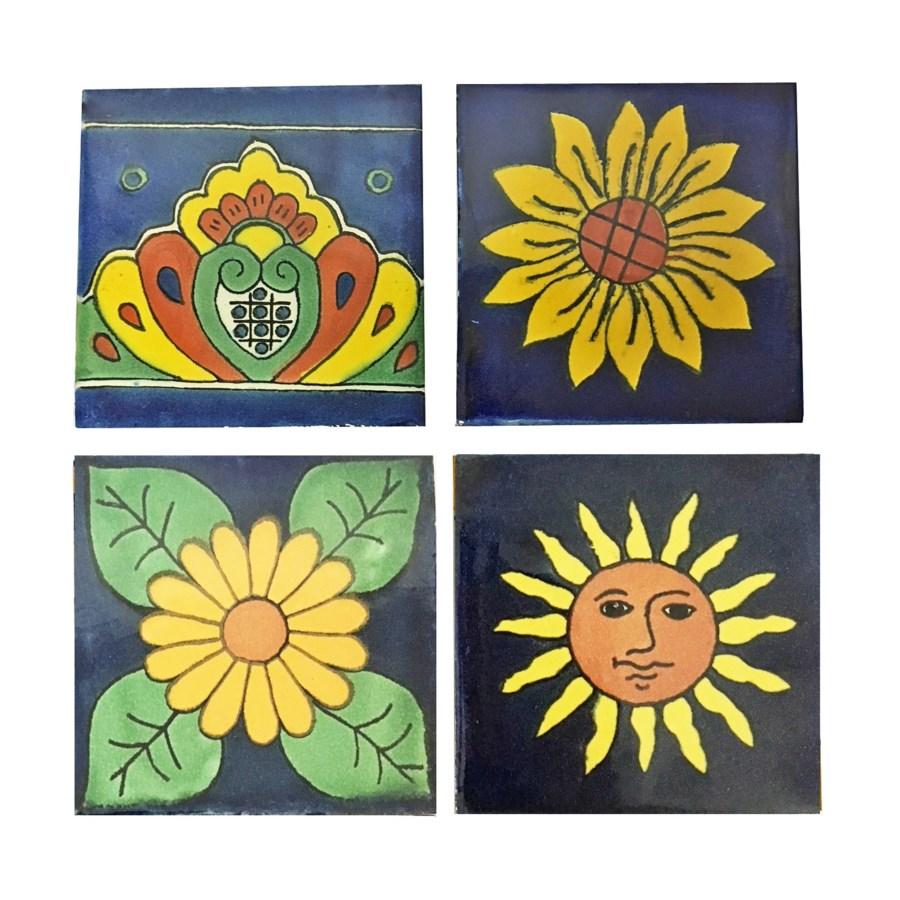 Coaster/Tiles Navy/Yellow Set/4